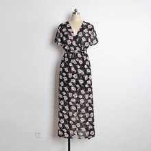 Load image into Gallery viewer, Fashion Floral Print V Neck Short Sleeve Split Belted Beach Maxi Dress