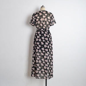 Fashion Floral Print V Neck Short Sleeve Split Belted Beach Maxi Dress