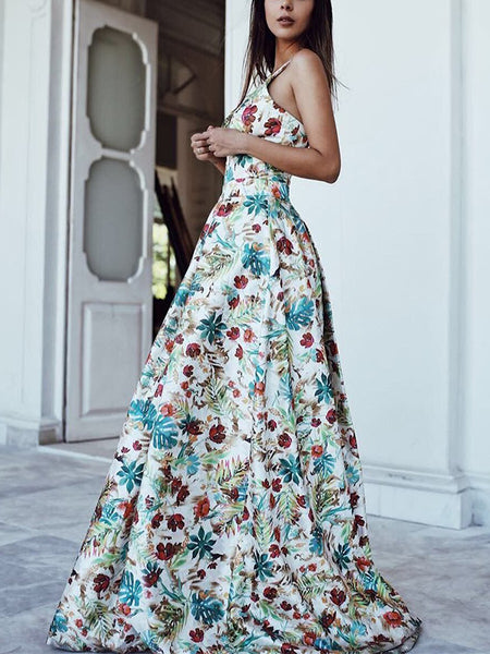 Sexy Deep Floral Printed Bohemian Maxi Evening Party Dresses