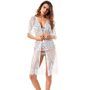 Sexy New Lace Half Sleeve Swimwear Beach Cardigan Bikini Cover Up
