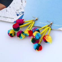 Load image into Gallery viewer, 1 Pair bohemia style long earrings small tassel jewelry Xmas party
