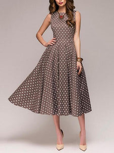 Polka Dot Sleeveless Summer Casual Midi Dress