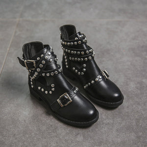 Round Head Stylish Metal Rivet Belt Buckle Martin Boots Women's Boots
