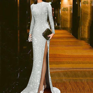 New elegant silver split sexy round neck evening dress