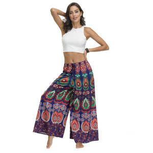 New Ethnic Style Casual All-match Wide-leg Pants with Waist Loose Pants