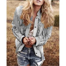 Load image into Gallery viewer, Autumn And Winter Women's Slim Jacket Long Sleeve Printed Tassel Short Jacket Women