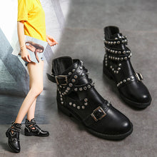 Load image into Gallery viewer, Round Head Stylish Metal Rivet Belt Buckle Martin Boots Women's Boots