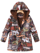 Load image into Gallery viewer, Casual Abstract Pattern Printed Long Sleeve Hoodie Coat