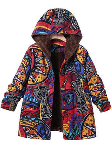 Casual Abstract Pattern Printed Long Sleeve Hoodie Coat