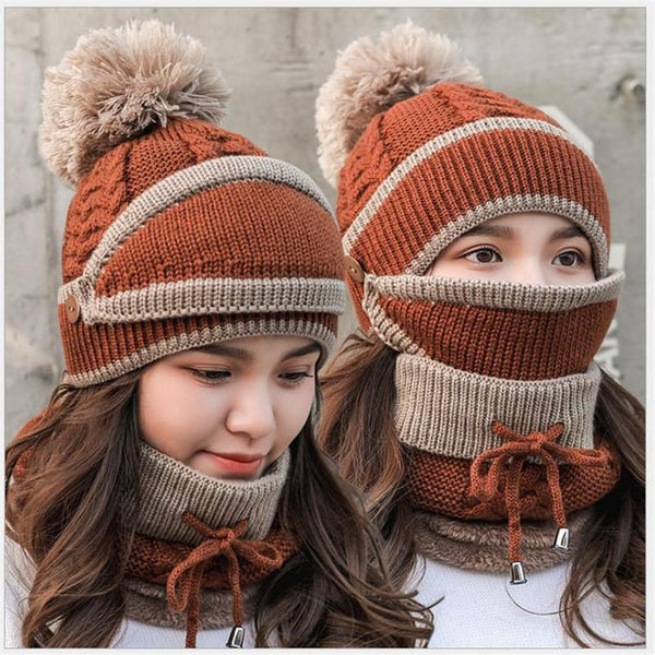 Winter Beanie Hat Scarf and Wind Proof Set 3 Pieces Thick Warm Knit Cap For Women