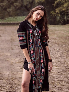 New Rayon Embroidered Mid-length-sleeved Beach Skirt Holiday Long Dress