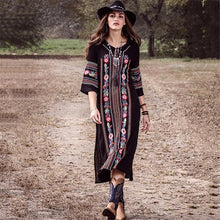 Load image into Gallery viewer, New Rayon Embroidered Mid-length-sleeved Beach Skirt Holiday Long Dress