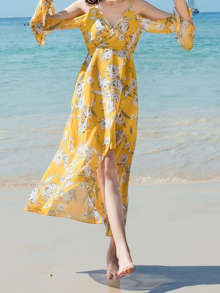 V-NECK  LONG-SLEEVE SPAGHETTI STRAPS FLORAL LONG DRESS