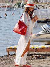 Load image into Gallery viewer, Sexy White Long Sleeve Chiffon Maxi Beach Dress Cover-up