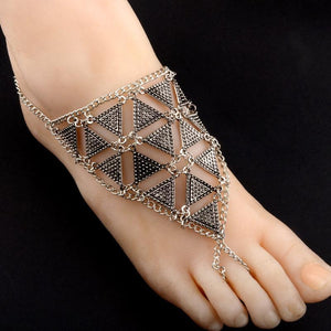 Retro exaggerated character fashion geometric triangle alloy hand-foot bracelet jewelry