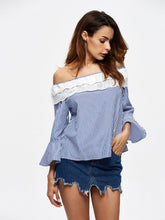 Load image into Gallery viewer, Stripe Off Shoulder Long Sleeve Tops T Shirt