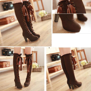 High-heeled Martin boots velvet front with high boots Korean round waterproof boots women s large size