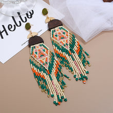Load image into Gallery viewer, Exaggerated Long Handmade Rice Bead Tassel Earrings