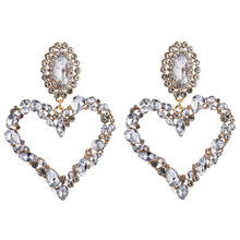 Load image into Gallery viewer, Vintage Heart Shaped Alloy Earrings With Colored Diamonds