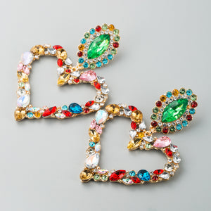 Vintage Heart Shaped Alloy Earrings With Colored Diamonds