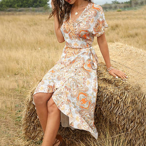 Vintage waist mid-length V-neck lace-up women's dress