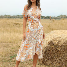 Load image into Gallery viewer, Vintage waist mid-length V-neck lace-up women's dress