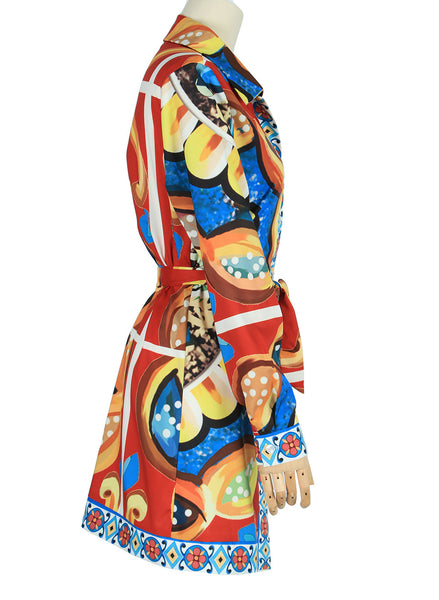Pre-sale Shirt Skirt Ins Hot Pop Print Strap National Summer Print Long-sleeved Skirt Shipped In March