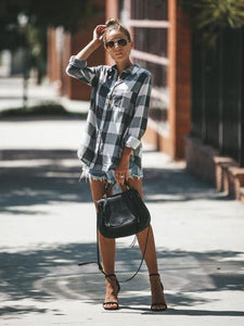 Loose Long Sleeves Plaid Button Shirt Blouse Tops