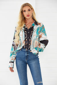 Spring & Summer New Shirt Temperament Revoke Long-sleeved Personality Print