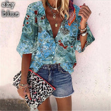 Load image into Gallery viewer, New Style Multicolor Printed Casual Women's Shirt With 9-point Sleeves