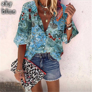 New Style Multicolor Printed Casual Women's Shirt With 9-point Sleeves