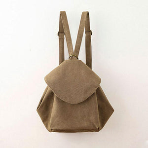 Women Casual Canvas Backpack Literature Zipper Shoulder Bag