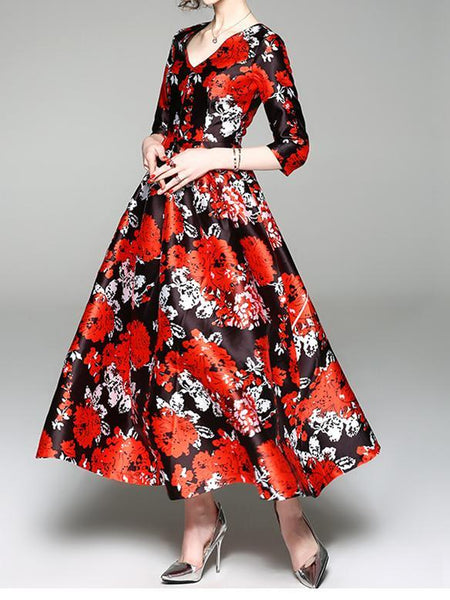 Elegant Floral Print Vintage Party Evening Maxi Dress
