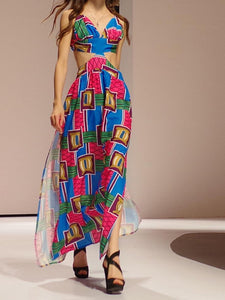 Print Spaghetti Strap Backless Split Maxi Dress