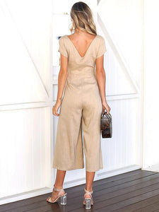 Solid Color V Neck Short Sleeve Wide Leg Pants Jumpsuit