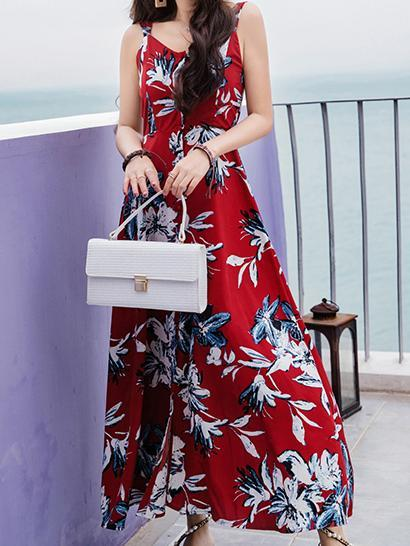 FLORAL SPAGHETTI STRAPS CHIFFON BEACH MAXI DRESS