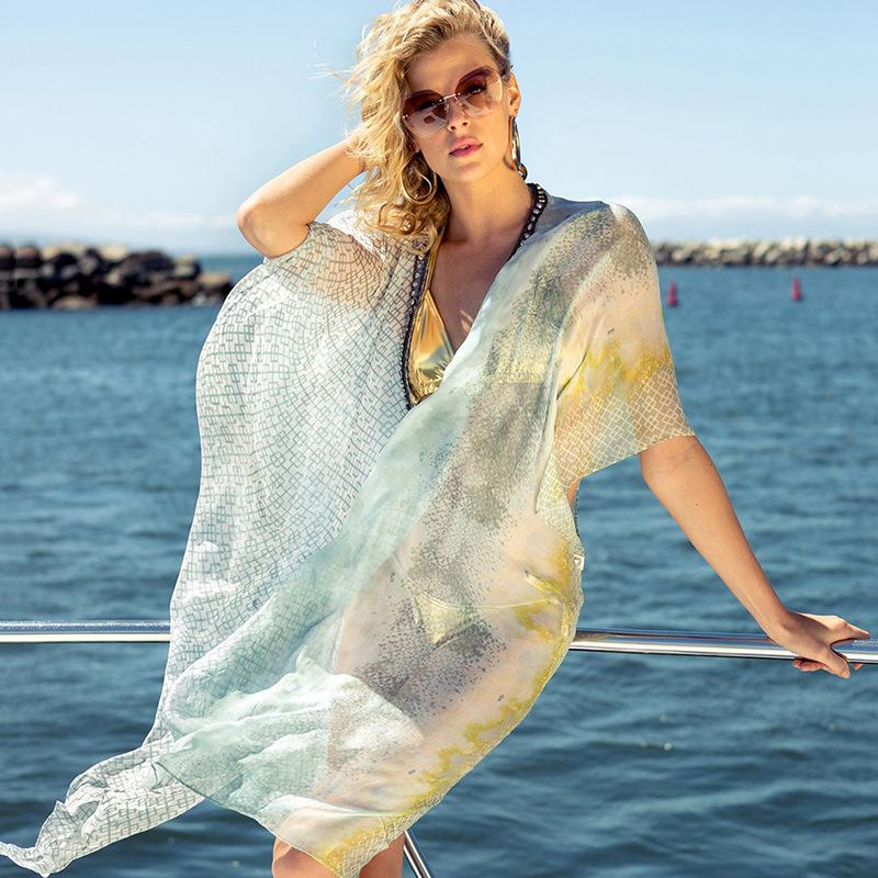 Summer Women's Chiffon Beach Sunscreen Shirt Pullover Jacket Chiffon Shawl