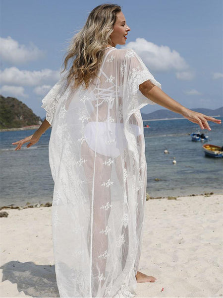 Lace Embroidered Circle Lace Loose Beach Sunscreen Shirt Holiday Dress Blouse