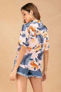 Women's Summer Lapel Print Single Breasted Shirt