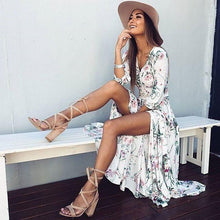 Load image into Gallery viewer, Ethnic Style Bohemian Big Hem V-neck Half Sleeve Dress