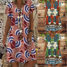 Load image into Gallery viewer, Summer New Short-sleeved Printed Dress Mid-length A-line Skirt