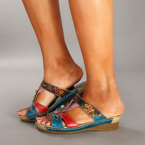 Summer New Style Slope With Ethnic Style Flowers Sandals