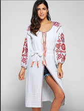 Load image into Gallery viewer, 2 Colors Bohemian embroidery tassel linen long dress