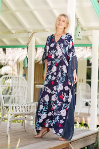 Fashion Floral Print V Neck Batwing Sleeve Boho Maxi Long Dress