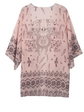 Load image into Gallery viewer, Fashion 3/4 Sleeve Printed Shirt Shawl Cover-up Tops