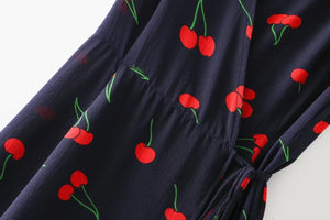New short-sleeved printed beach skirt long skirt female cross V-neck short sleeve dress