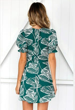 Load image into Gallery viewer, Print V Neck Short Sleeve Mini Dress