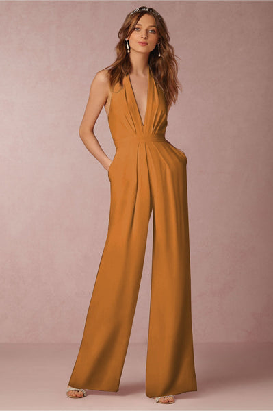 Solid Color Halter Wide Leg Pants Jumpsuit