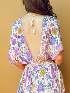 Belted Floral Printed Deep V Neck Off Back Maxi Dress