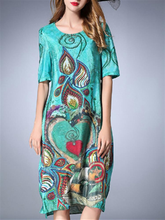 Load image into Gallery viewer, Casual Printed O-Neck Half Sleeve Women Silk Dresses